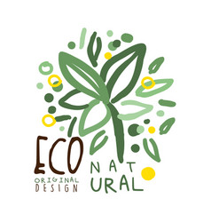 eco natural label original design logo graphic vector image vector image
