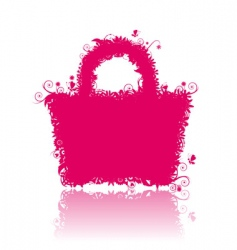 floral shopping bag silhouette vector image