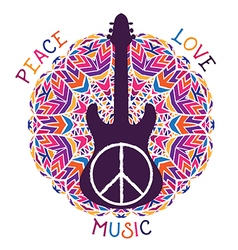 hippie peace symbol and guitar vector image vector image