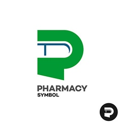 Letter P pharmacy medicine logo with medicament vector image