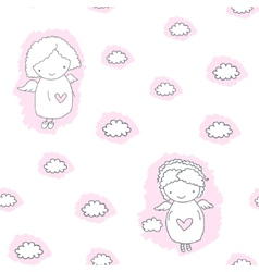 Seamless pattern with angels vector image vector image