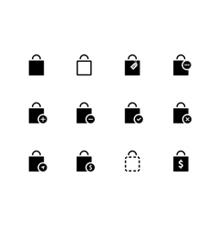 Shopping bag icons on white background vector image vector image