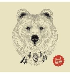 sketch of a bear face Bear head front vector image