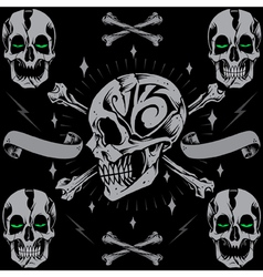 Skulls bone cross and ribbon vector