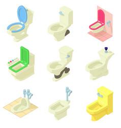 Toilet bowl icons set isometric style vector