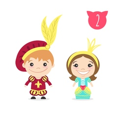 two happy cute kids characters Boy in prince vector image vector image