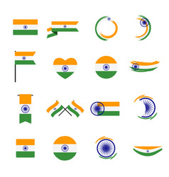 16 abstract india flag sign icon collection set vector