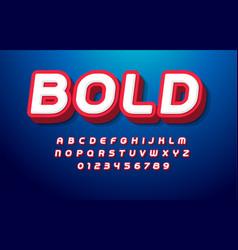 3d bold alphabet pop art font heavy type for vector image