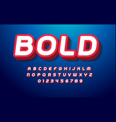 3d bold alphabet pop art font heavy type vector image
