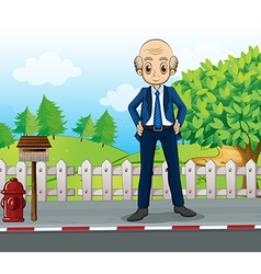 A bald business icon standing at road near the vector