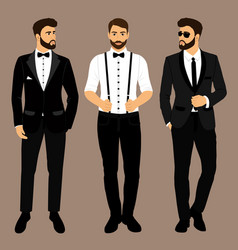 A man with suspenders the groom clothing vector