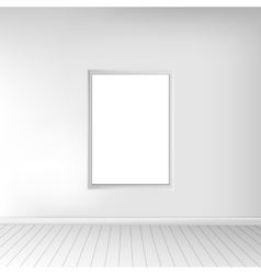 A spacious empty white room with a picture on the vector