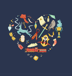 Abstract design with magic creatures and items vector