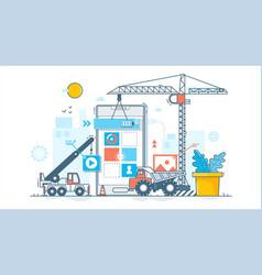 app development process construction web vector image