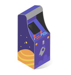 Arcade video game isometric icon coin operated vector