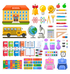 awesome set of school objects and elements vector image