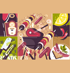 barbecue abstract background vector image