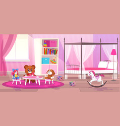 bed room girl child bedroom interior girls vector image