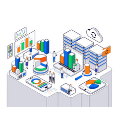big data science analysis isometric vector image