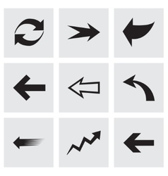 black arrows icons set vector image