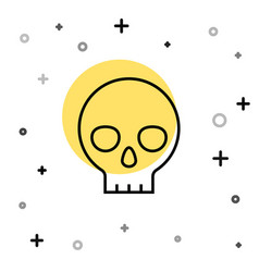 black line human skull icon isolated on white vector image