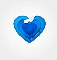 blue paper heart with wave vector image