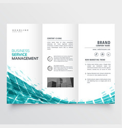 Blue trifold brochure flyer template for your vector