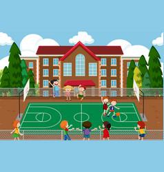 boys playing basketball game vector image