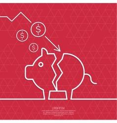 Broken pig piggy bank vector