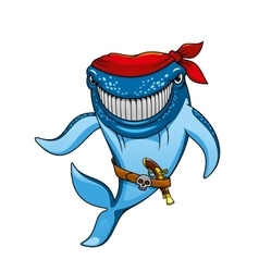 Cartoon blue whale pirate in bandanna and gun vector