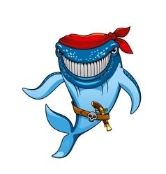 Cartoon blue whale pirate in bandanna and gun vector image