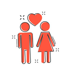 cartoon man and woman with heart icon in comic vector image