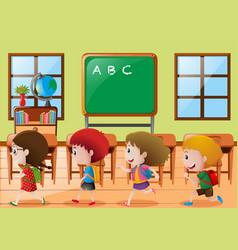 Children walking in classroom vector