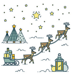 christmas robotic deer linear art robot deer vector image