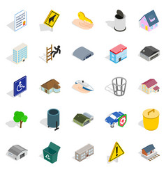 city buildings icons set isometric style vector image