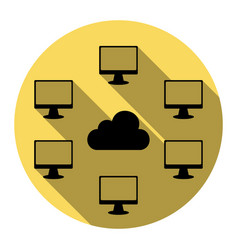 Computers nerk sign flat black icon with vector