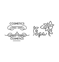 cosmetic spa linear logo template symbol for spa vector image
