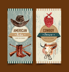 Cowboy flyer design with hat scarf gun boots cow vector