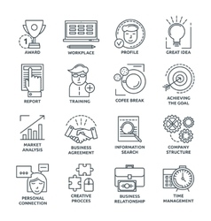 Coworking Monochrome Linear Icons vector