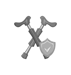 Crossed crutches and shield with tick icon vector