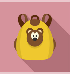cute bear backpack icon flat style vector image