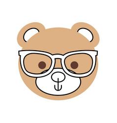 Cute teddy bear head wearing glasses toy design vector