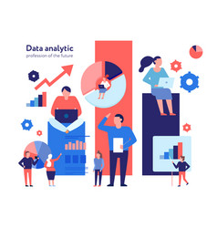 data analytics flat composition vector image