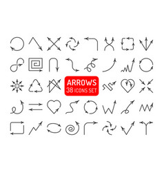 different arrows and pointers linear icons vector image