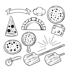 different monochrome elements for pizza banners vector image