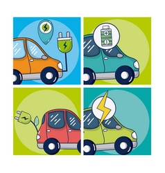 electric car and green energy vector image