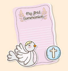 First communion card with dove and wafer host vector
