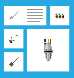 Flat icon dacha set of shovel pump grass-cutter vector