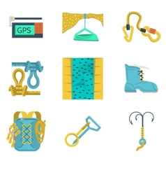 Flat icons collection mountaineering vector