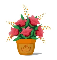 Flower bouquet roses basket vector image